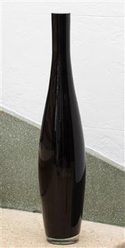 Sale 9066H - Lot 27 - A black cased glass bottle of bowling pin form. H 51cm.