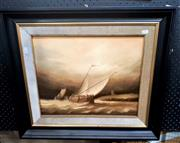 Sale 9061 - Lot 2022 - Artist Unknown, Ship at the dock, oil on canvas, frame: 56 x 64 cm, signed lower right
