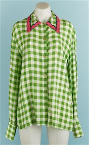 Sale 9071F - Lot 44 - A BANKUSSI COLLARED SHIRT; in lime and white check with pink embroidery to collar and button up cuffs, size S