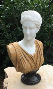 Sale 9080G - Lot 24 - Carved Marble Diana Lady Bust. General Wear ,Nature Stone Vein Line .Slight chipping at the base of back, Size: 52cm H x 31cm Widest