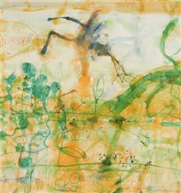 Sale 9110A - Lot 5001 - John Olsen (1928 - ) Morning at the Lily Pond, 1997 watercolour and pastel 100 x 94 cm (frame: 149 x 138 x 4 cm) signed and dated lo...