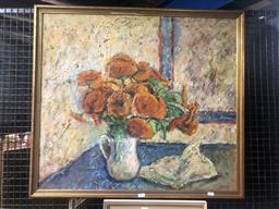 Sale 9152 - Lot 2015 - A vintage Floral Still Life oil painting by Unknown Artist, frame: 83 x 76 cm -