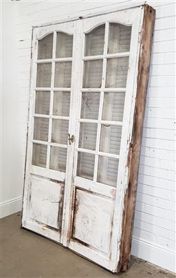Sale 9174 - Lot 1377 - Rustic double panelled door with timber muntins - some losses to glass panels - 190 (h220 x w135cm)