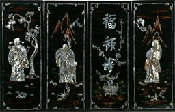 Sale 9164 - Lot 272 - A set of 4 Chinese lacquered and mother of pearl inlay decorative wall hangings (each 19cm x 49cm)