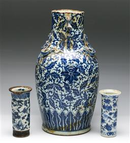 Sale 9173 - Lot 89 - A collection of three Qing dynasty blue and white vases - all heavily damaged and repaired (H:42cm, 15cm and 16cm)
