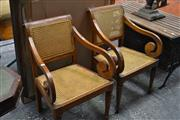 Sale 8013 - Lot 1431 - Pair of Timber Framed Armchairs w Rattan Back & Seat
