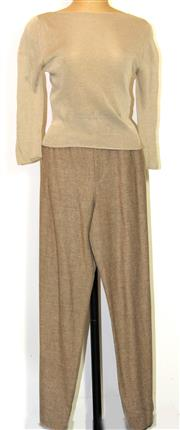 Sale 8196F - Lot 372 - YVES SAINT LAURENT WOOL TROUSERS AND SHI FINE LINEN KNIT TOP; Rive Gauche pants (34), and Shi Shayesteh Nazemi London top (S).