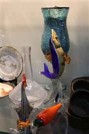 Sale 8276 - Lot 94 - Murano Art Glass Fish (chip to base) with Other Art Glass incl. Carrot
