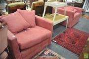 Sale 8302 - Lot 1092 - Pair of Red Micro Suede Armchairs