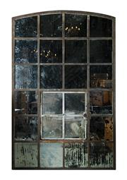 Sale 8422A - Lot 74 - An antique French industrial iron garden window fitted with distressed mirrors, approx 240 x 150cm