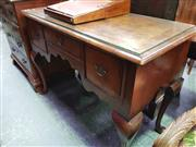 Sale 8444 - Lot 1074 - Early Georgian Style Walnut Side Table, with crossbanded top, one short & two deep drawers, shaped apron & cabriole legs