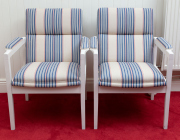 Sale 8677B - Lot 845 - Two white painted timber chairs with striped upholstery,