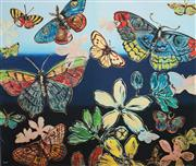 Sale 8695A - Lot 5082 - David Bromley (1960 - ) - Butterflies with Flowers 78 x 92cm