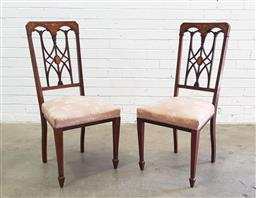 Sale 9126 - Lot 1042 - Pair of Late Victorian Eclectic Style Mahogany Chairs, with astragal inlaid backs, pink upholstered seats & tapering legs with spade...