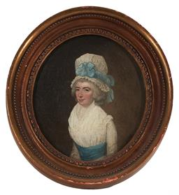 Sale 9141A - Lot 5061 - C19TH ENGLISH SCHOOL Portrait of a Dowager oil on tin 17.5 x 15 cm (frame: 24.5 x 22.5 cm) unsigned