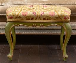 Sale 9160H - Lot 107 - A boyac fabric floral upholstered painted timber foot stool with cabriole legs, Height 42cm x Width 56cm x Depth 46cm