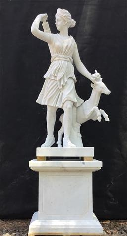 Sale 9175G - Lot 18 - Carved Marble Artemis, goddess of the hunt ,know as the Diana of Versailles Statue Sculpture.General wear , Has stone fissure line /...