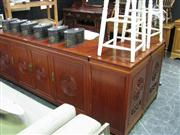 Sale 7937A - Lot 1108 - Large Oriental Style Stereo Unit inc 2 Timber Cased Speakers