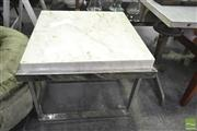 Sale 8251 - Lot 1086 - Marble Top Side Table over metal base