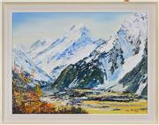 Sale 8325A - Lot 60 - Ron Prestney ( active1960s - 1980s) - Alpine Landscape, 1970 45 x 60cm