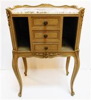 Sale 8362A - Lot 36 - A vintage French painted finish side cabinet with marble top, size 78 x 50 x 31cm