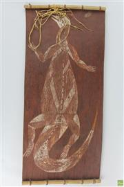 Sale 8572 - Lot 2 - Aboriginal Bark Painting of Goanna By Samuel Mangkudja Ganaraj