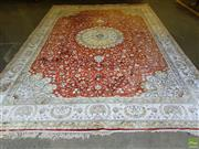 Sale 8566 - Lot 1486 - Persian Silk Blend Rug - some fading (430 x 306cm)