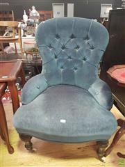 Sale 8648C - Lot 1077 - Blue Upholstered Grandmother Chair