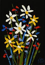 Sale 8732A - Lot 5002 - Kym Hart (1963 - ) - Wildflowers 16.5 x 11cm (frame: 32.5 x 27.5cm)