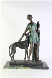 Sale 8877 - Lot 3 - Art Deco Style Bronze Of Lady With Dog On Marble Base H: 62cm W: 50cm D: 20cm