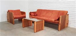 Sale 9117 - Lot 1003 - Linea three seater lounge with single armchair, coffee table & two matching ottomans