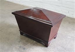 Sale 9142 - Lot 1033 - Regency Style Mahogany Cellarette, of sarcophagus form, with internal divider (h:55 x w:80 x d:50cm)