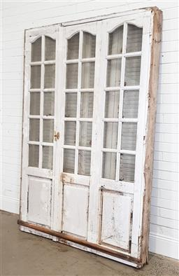 Sale 9174 - Lot 1376 - Rustic triple panelled door with timber muntins - some losses to glass panels - 190 (h215 x w150cm)