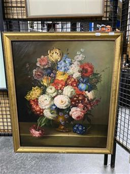 Sale 9176 - Lot 2059 - Artist Unknown Still Life Vase of Flowers (Style of Bruno Cengarle) oil on board, 60 x 51 cm, signed lower right -