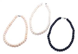Sale 9194 - Lot 563 - THREE FRESHWATER CULTURED PEARL NECKLACES; 9.6-11.9mm white oval circle pearls, length 45cm, 10.6-12.1mm cream circle pearls, length...