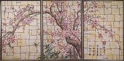 Sale 7379B - Lot 69 - Chinese Triptych, Birds in Cherry Blossom Tree, each panel 91 x 61cm