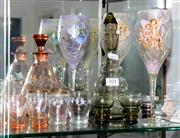 Sale 8098A - Lot 101 - Two Seven Piece Decanter Sets Together With Four Fairy Light Goblets And Six Harlequin Shot Glasses