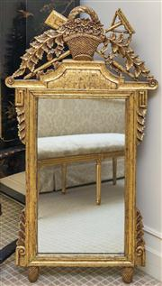 Sale 8259A - Lot 55 - An 18th Century Style Giltwood Mirror, carved with a garden pot, rake and spade, leading to original rectangular mirror plate, h 132...