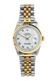 Sale 8388 - Lot 358 - A ROLEX OYSTER PERPETUAL DATEJUST AUTOMATIC WRISTWATCH; ref; 16233 in 18ct gold and stainless steel, white dial with applied Roman n...