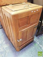 Sale 8428 - Lot 1027 - Early 20th Century Oak Ice Cabinet, with hinged top, panel door & flap for drip tray