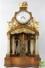 Sale 8533 - Lot 8 - Austro-Hungarian Fruitwood Gilt Gesso & Alabaster Empire Clock
