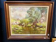 Sale 8678 - Lot 2035 - Betty Osborne - Junction Point, Binda NSW oil on board, 39.5 x 50cm, signed lower left -