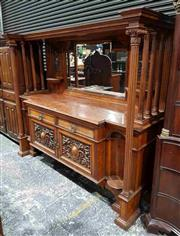 Sale 8956 - Lot 1016 - Impressive Edwardian Oak & Pollard Sideboard, the carved mirror back with shelves and flanked by turned columns, above two drawers &...