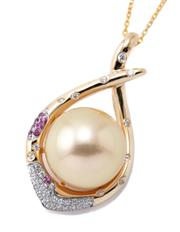 Sale 8982 - Lot 390 - A GOLDEN SOUTH SEA PEARL AND STONE SET PENDANT; 12.3mm round fine cultured pearl centring a 14ct gold cross over frame set with pink...