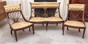 Sale 9058H - Lot 99 - A parlour suite comprising gold upholstered button backed two seater and two chairs. Height of setee 80cm W-103cm