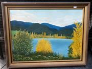 Sale 9061 - Lot 2021 - Margery Dennis (1922 - ), Blue and Gold, oil on canvas on board, 56 x 70 cm, signed lower left