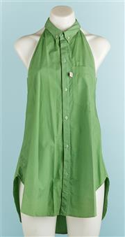 Sale 9071F - Lot 45 - A STUART MEMBRAY SLEEVELESS BLOUSE; in moss green, size 8