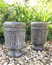 Sale 9080G - Lot 27 - Pair Carved Genuine Stone Urn/Planter .Appears to have crack line or previous repair to base on One Base Of Urn. Drainage Hole at Sid..