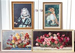 Sale 9103M - Lot 758 - Four period prints including floral study, and two of children, largest 56cm x 107cm