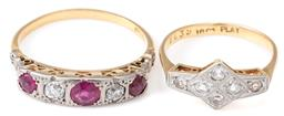 Sale 9124 - Lot 356 - TWO ANTIQUE 18CT GOLD GEMSET RINGS; one set across the top with 2 Old Mine cut diamonds and 3 round cut synthetic rubies (worn) to d...